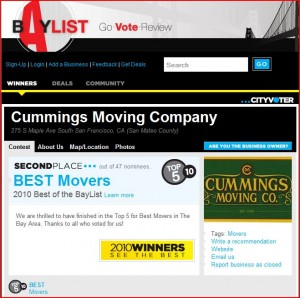 2010 Best San Francisco Movers
