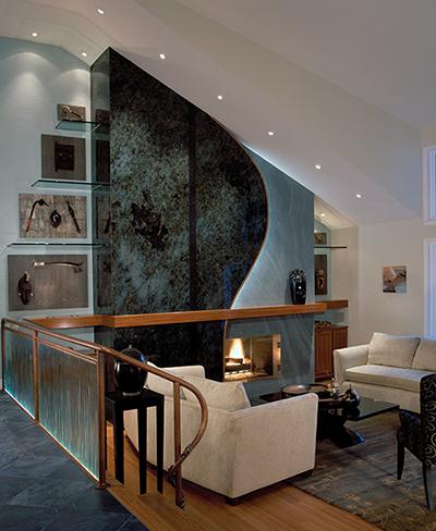 living area with custom design
