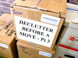 moving box with declutter before a move text