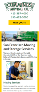 San Francisco Moving Company Mobile Website
