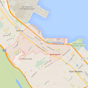Map of Burlingame via Google Maps